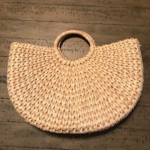Half moon straw bag